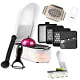 Vegetable Chopper Slicer Dicer Cutter Grater - Onion Food Veggie Fruit Professional Chopper Slicer Set - Highest Build Quality - Larger Container - Easily Prep Healthy Meals - Cleaning Kit And Peeler