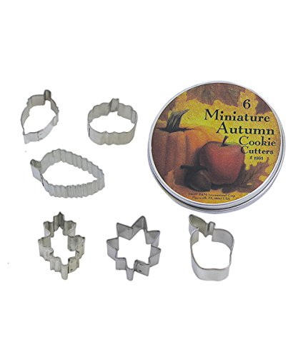 R&M International 1991 Mini Autumn Leaf Cookie Cutters, Acorn, Pumpkin, Oak, Maple, Aspen, Apple, 6-Piece Set in Gift Tin]()