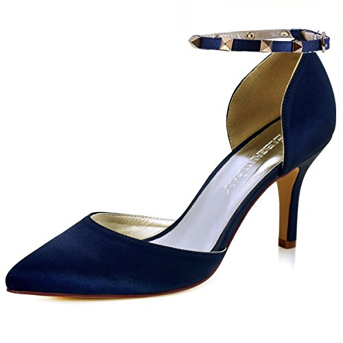 ElegantPark Women Pointed Toe High Heel Pumps Satin Ankle Strap Wedding Bridal Evening Party Dress Shoes Navy Blue US ()