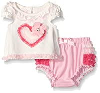 Nannette Baby Girls' Little Applique Top with Ruffled Diaper Cover Set, White, 12 Months