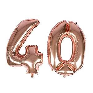 Globo gigante de oro rosa con número 40 de papel de aluminio mylar para decoraciones de 40 cumpleaños, eventos de Navidad, suministros – helio ...