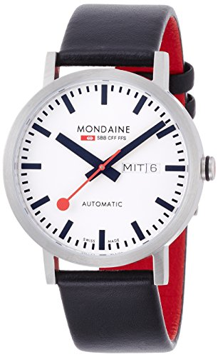 Mondaine ' SBB' Swiss Automatic Stainless Steel and Leather Casual Watch, Color:Black (Model: A132.30359.16SBB)
