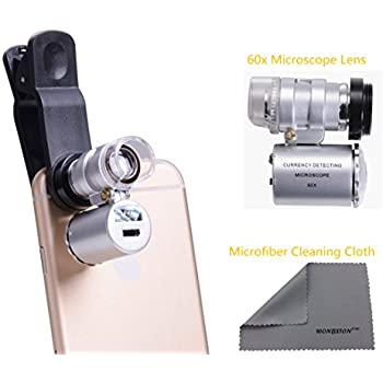 WONBSDOM Univsersal 60X Zoom LED Clip-On Microscope Lens+Microfiber Cleaning Cloth for iPhone 4S 5 5S 5C 6 itouch iPad Samsung Galaxy S3 S4 S5 Note 2/3/4 HTC Nokia Sony,etc.