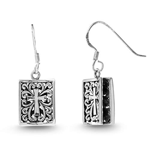 WILLOWBIRD Textured Filagree Book Cross Dangle French Wire Earrings for Women In Oxidized 925 Sterling Silver (Book Cross)