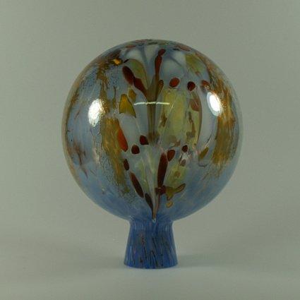 Decorative Garden Ball with Granulate Blue D 15cm, mouth-blown Handmade Original Lauscha Glass Lauschaer Glas 13GK15_04