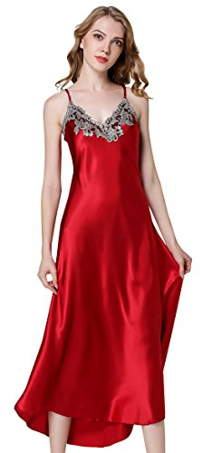 Avitalk Womens Satin Long Nightgown Lace Luxury Lingerie Full Slip Nightie Gown Sexy Nightdress Chemise Sleepwear Red L