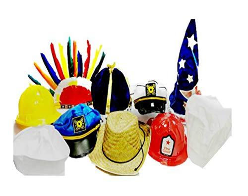 Funny Dress Up and Role Play Costume Hats for Kids - Includes 5 Random Crazy Hats for Crazy Hat Day, Birthday Party Fun, and Pretend Play Costumes]()
