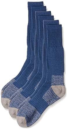 Rio Men's Reinforced Cushion Comfort Work Socks (3 Pack), Blue, 6-10