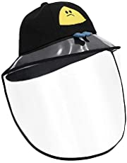 Kids Fisherman Face Visor Hat - Detachable PVC Hood Sun Hat 100% Cotton Cap for Going-Out, Beach, Pool, Camp, Unisex