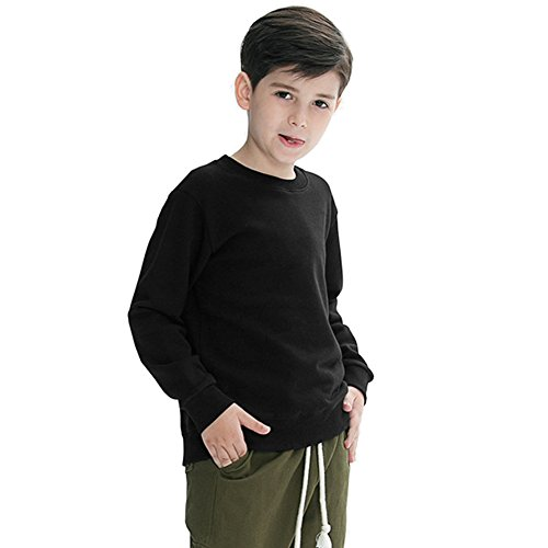 Boys Black Sweatshirt Kids 100% Organic Cotton Crewneck Sweater Shirt Youth Blank Solid Clothes Plain Pullover Top Athletic Clothing,Long Sleeve,Black,4-5 Years Old