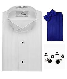 Wing Collar Tuxedo Shirt, Royal Blue Cummerbund, Bow-Tie, Cuff Links & Studs Set