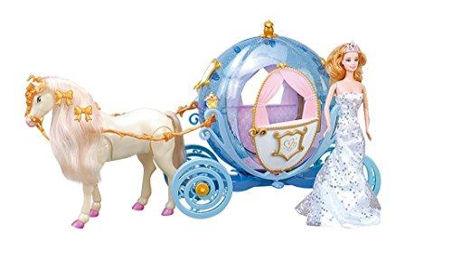 Elektrische Princess Fairytale Kutsche mit Pferd in Kürbisform mit Beleuchtung UND Elektrischem Pferd, voll beweglich, inkl. Sound
