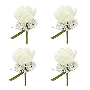 JaosWish 4PCS Flower Men Boutonniere Handmade Silk Men Corsage for Groom Wedding Party Suits 48