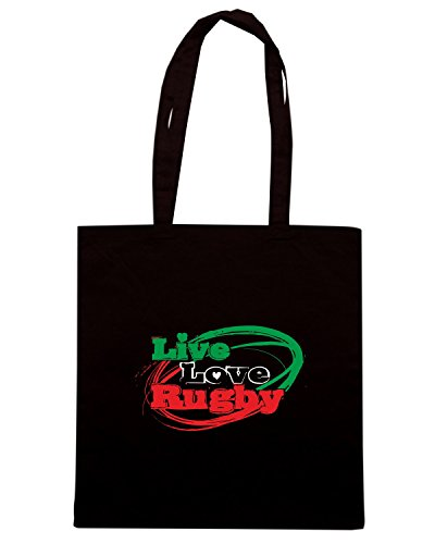 T-Shirtshock - Bolsa para la compra T0788 LIVE LOVE RUGBY sport Negro