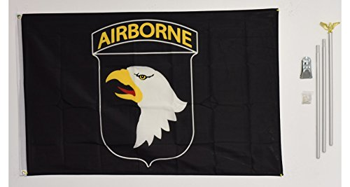 3x5 101st Airborne Division Black flag with 6 ft Brushed Silver Aluminum Residential Commercial Advertising Flagpole Pole Kit Set (Eagle - Flag Silver Eagle