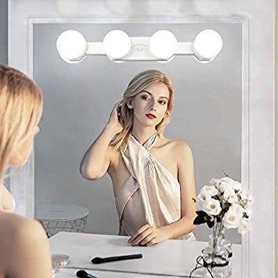 Makeup Light Cordless Portable Rechargeable Hollywood Vanity Mirror Lights With 4 Led Bulbs 3 Color Modes Brightness Adjustable For Bathroom Dressing Table Mirror Lighting Buy Online At Best Price In Uae Amazon Ae