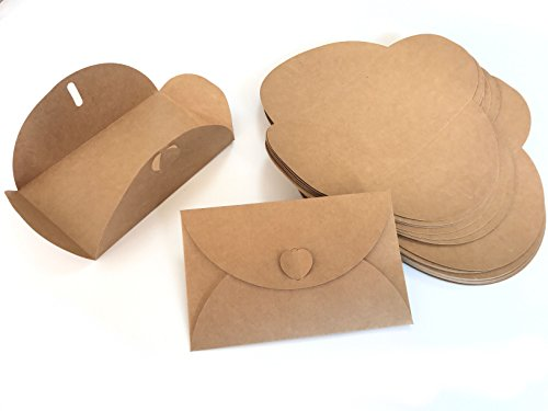 Business Invitations Brown - VEEPPO Pack of 50 Brown Kraft Paper Business/Party/Greeting/Invitation Envelope with Heart Knit (4.5 X 6.9 inch)