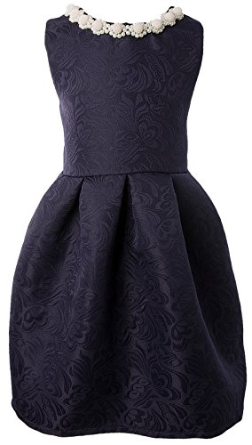 Ipuang Big Girls' Lovely Pattern Dresses for Special Occasions 10 Navy Blue