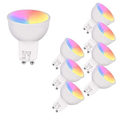 Smart WiFi LED Bulb, 5W GU10 LED Bulbs Dimmable RGB + Cool Light + Warm Light Work with Alexa Echo,Google Home, No Hub…