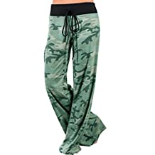 Kimloog Women Camouflage Print Casual Loose High Waist Straight Drawstring Long Wide Leg Pants Trousers