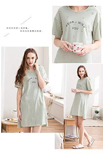 Mujer Verano De Manga Camisón Lindo M Primavera Baujuxing Pijamas Algodón Pijama Servicio Punto A Domicilio Cuello Redondo 100 Corta BWt7En7