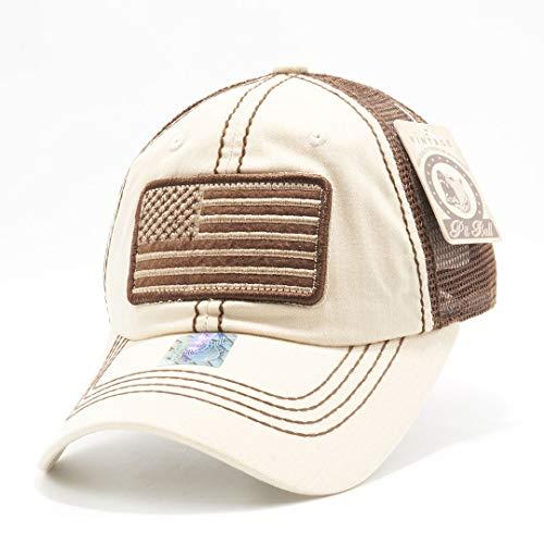 - Honor Country USA American Flag Baseball Cap Black - Cream