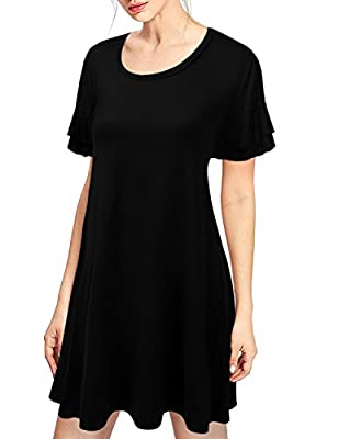 Doublju Womens Loose Fit Ruffle Sleeve Tunic Dress with Plus Size