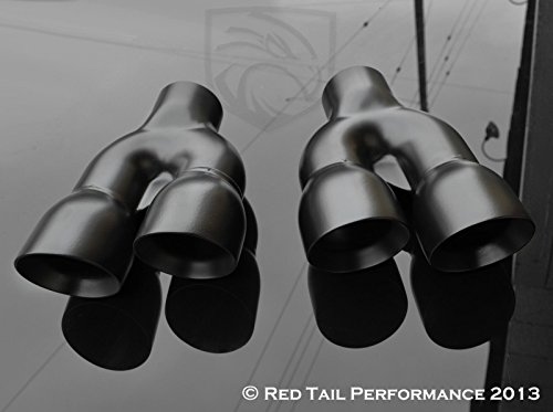 Mina Gallery Black Powder Coated Exhaust Muffler Tip Dual Round Double Wall and Staggered (Left and Right Side) 2.25