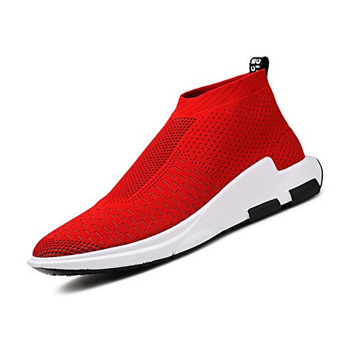 KONHILL Men's Lightweight Sneakers Walking High Top Ankle Socks Shoes Outdoor Breathable Athletic Running Shoes,Red,42