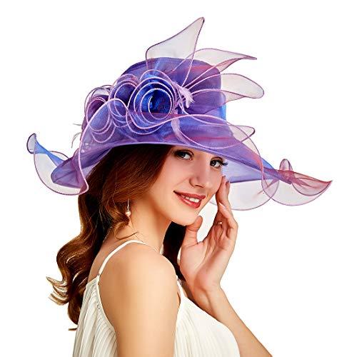 Genuva Women's Organza UV-Anti Church Derby Hat Fascinator Tea Party Wedding Hat Ruffles Wide Brim Bridal Cap (Style 7 - Purple)