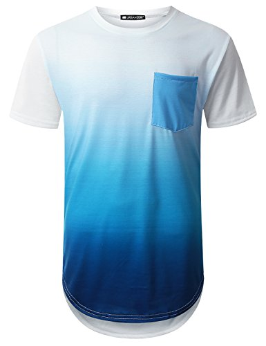 URBANTOPS Mens Hipster Hip Hop Sea Blue Pocket Longline T-Shirt White, M