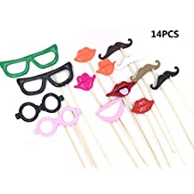 14PCS Funny Wedding Birthday Party Photo Booth Prop Kit Polymer Clay Mask Mustache Glasses Lips Luau Hawaii party Decoration/Baby Shower/Bachelorette Party Props