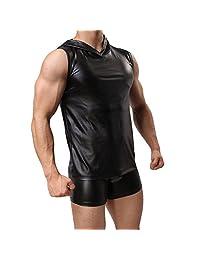 Showking Men Hooded Leather Taste Bar Vest Sleeveless Tank Top Casual Gym Muscle Vest