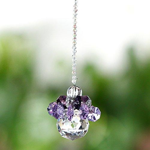 H&D Fengshui Hanging Ornaments Suncatcher Rainbow Maker Car Charm Chandelier Crystals Ball Prisms Parts (purple) ()