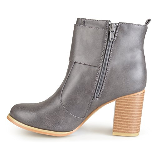 Brinley Co. Womens Buckle Heeled Bootie Grey bj6rw