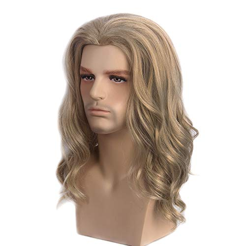 STfantasy Long Curly Golden Brown Hair Wigs Men Party Wigs for Cosplay Costume -