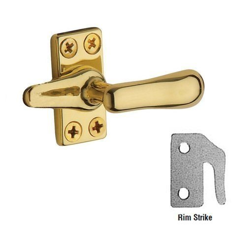 Baldwin 0495 Solid Brass Heavy Duty Casement Fastener with Rim Strike, Polished Brass - Polished Brass Casement Fastener
