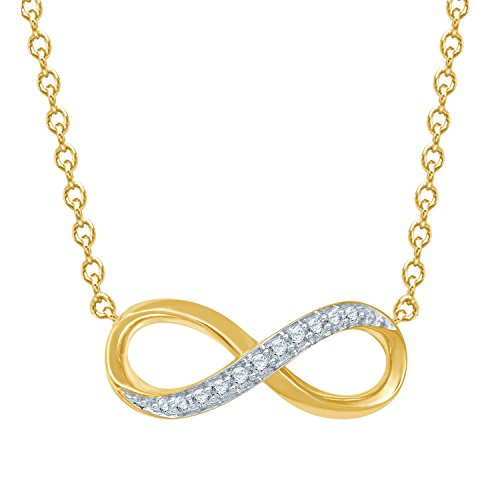 Diamond Jewel 10K Yellow Gold 1/8 cttw Diamond Infinity Pendant Necklace by Diamond Jewel