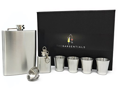 TheBarsentials Premium 8-Ounce Hip Flask Plus 1-Ounce Keychain Flask Set Leakproof Stainless Steel for Liquor with 4 Drinking Shot Glass and Funnel in Box for Men and -