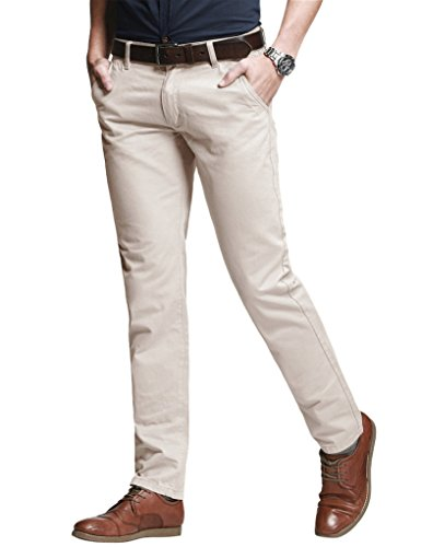 Match Men's Slim Tapered Stretchy Casual Pant (32W x 31L, 8060 Apricot)