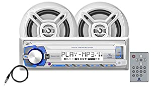 Dual Electronics MCP103 Multimedia Detachable Single DIN Marine Stereo with Built-In Bluetooth, USB & SD Card Ports, Two 6.5 inch Dual Cone High Performance Marine Speakers & Long Range Marine Antenna