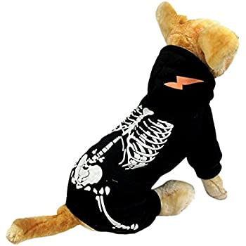 NACOCO Dog Costume Dinosaur Costumes Skeleton Hoodies for Dogs Clothes Halloween Day Party Cosplay Skull Apparel (XL, Black)