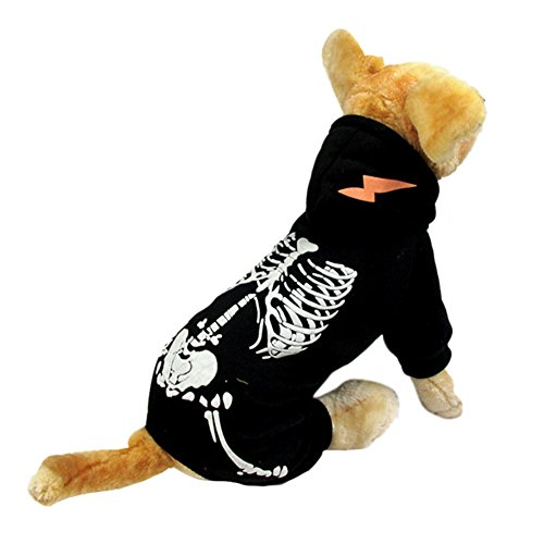 NACOCO Dog Costume Dinosaur Costumes Skeleton Hoodies for Dogs Clothes Halloween Day Party Cosplay Skull Apparel (L, Black) -