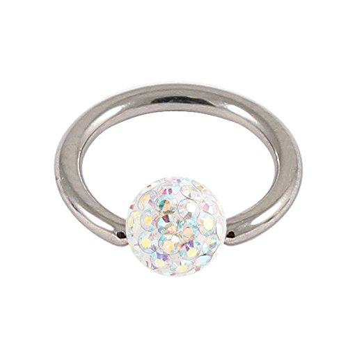 Cristal AB lisse acier BCR. Boule à Paillettes 1,2 mm Calibre 9 mm Diamètre intérieur anneau boule.