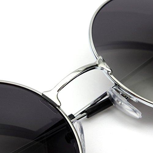 de de Unisex protección retro Montura en OUTERDO UV400 gafas con metal sol gris estilo para zHFFwdqan