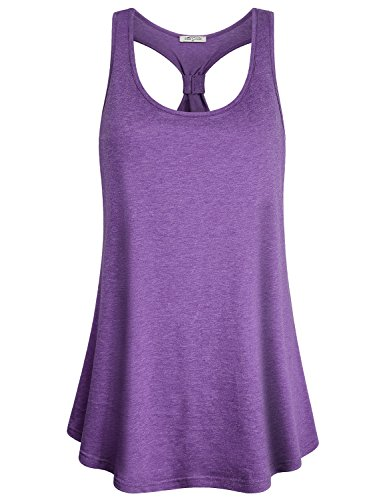 SeSe Code Flowy Tank Top, Women Scoop Neck Jersey Workout Shirts Classic Gym Outfits Triblend Yarn Flattering Racerback Leisure Outdoor Comfy Wear Elastic Summer Yoga Tunics Purple -