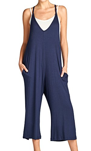 Loving People Solid Spaghetti Strap V Neck Loose Fit Capri Jumpsuit, Small, Navy