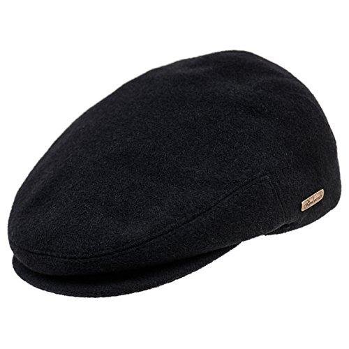 Sterkowski Wool Petersham Traditional Ivy League Snapbill Flat Cap US 7 1/4 Black