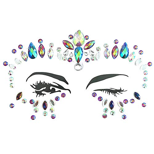 Inverlee 1 Sheet Facial Gems Adhesive Glitter Jewel Tattoos Stickers Wedding Festival Party Body Makeup (C3)