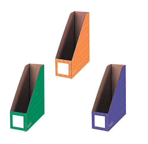Bankers Box Classroom Magazine File Organizers, 4-Inch, Purple Green and Orange, 3 Pack (3381801)